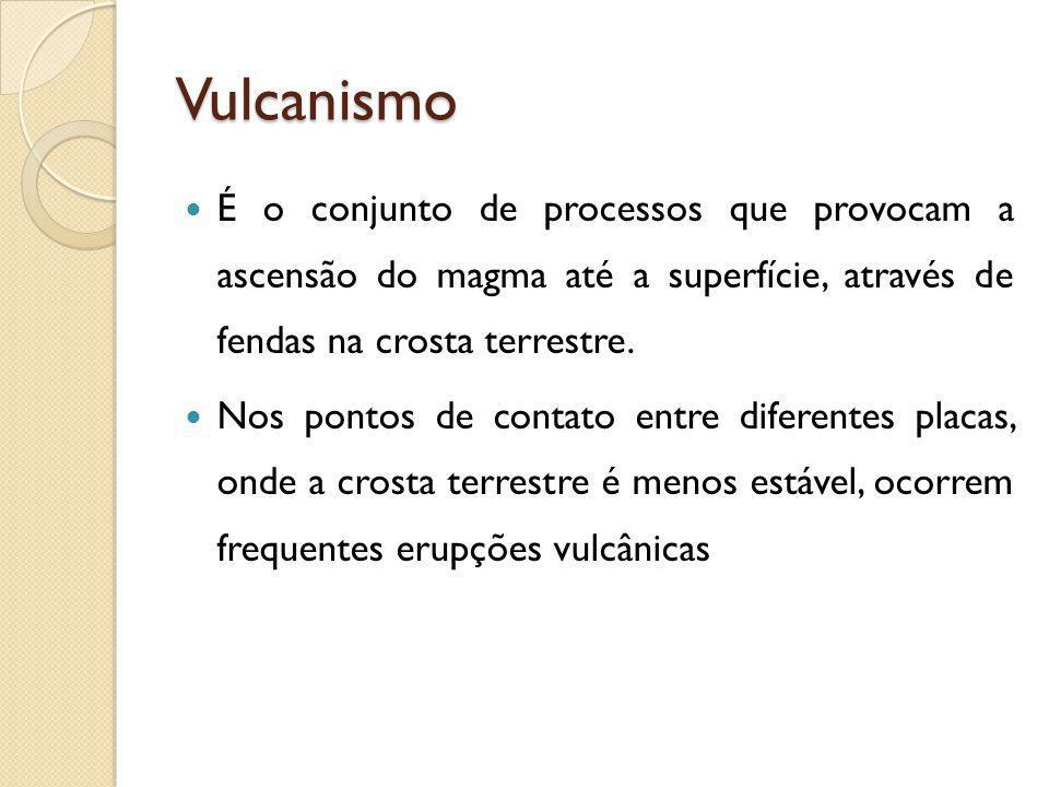 Vulcanismo É o conjunto de processos que provocam a ascensão do magma até a superfície, através de fendas na crosta terrestre. Nos pontos de contato e
