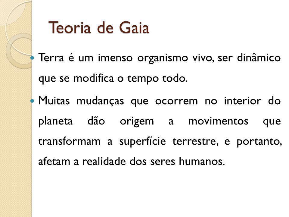 Teoria de Gaia Terra é um imenso organismo vivo, ser dinâmico que se modifica o tempo todo. Muitas mudanças que ocorrem no interior do planeta dão ori