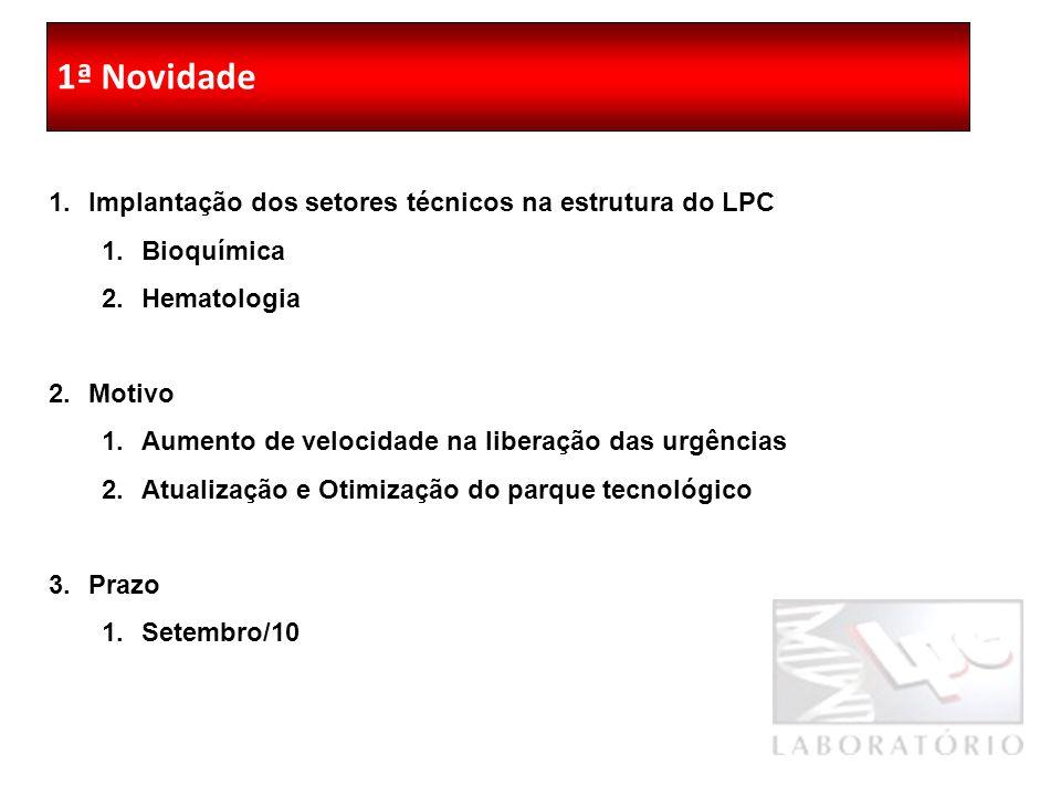 1ª Reunião Geral LPC 2010 1ª Novidade 1.Implantação dos setores técnicos na estrutura do LPC 1.Bioquímica 2.Hematologia 2.Motivo 1.Aumento de velocidade na liberação das urgências 2.Atualização e Otimização do parque tecnológico 3.Prazo 1.Setembro/10