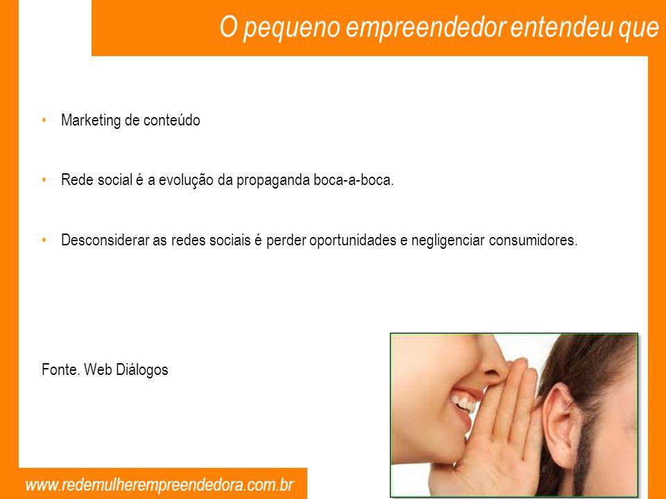 www.redemulherempreendedora.com.br O pequeno empreendedor entendeu que Marketing de conteúdo Rede social é a evolução da propaganda boca-a-boca. Desco