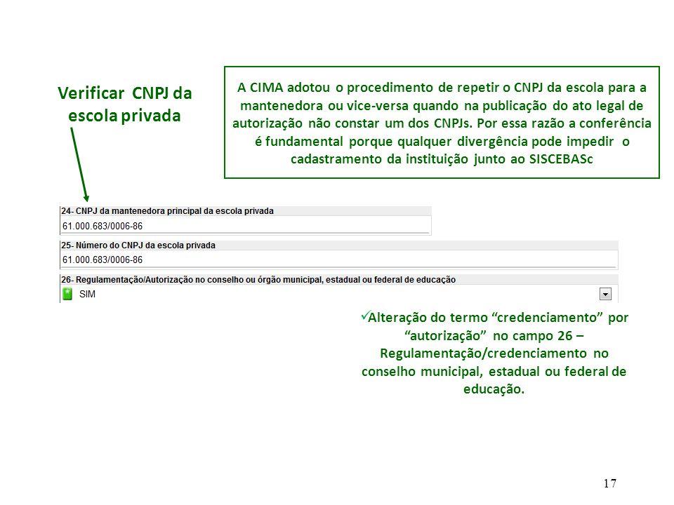 Verificar CNPJ da escola privada A CIMA adotou o procedimento de repetir o CNPJ da escola para a mantenedora ou vice-versa quando na publicação do ato