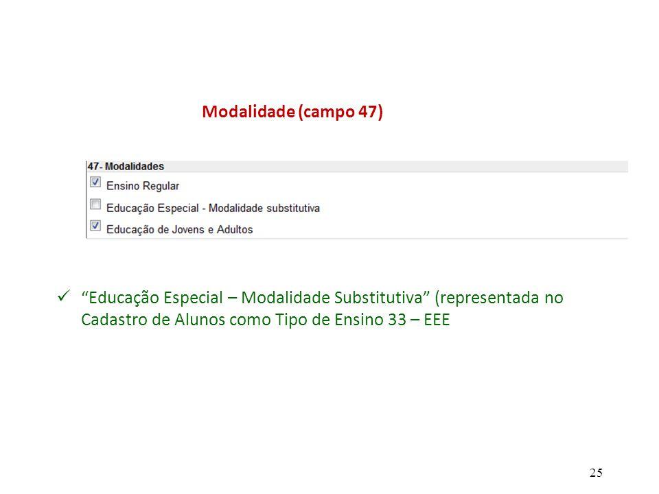 """""""Educação Especial – Modalidade Substitutiva"""" (representada no Cadastro de Alunos como Tipo de Ensino 33 – EEE Modalidade (campo 47) 25"""