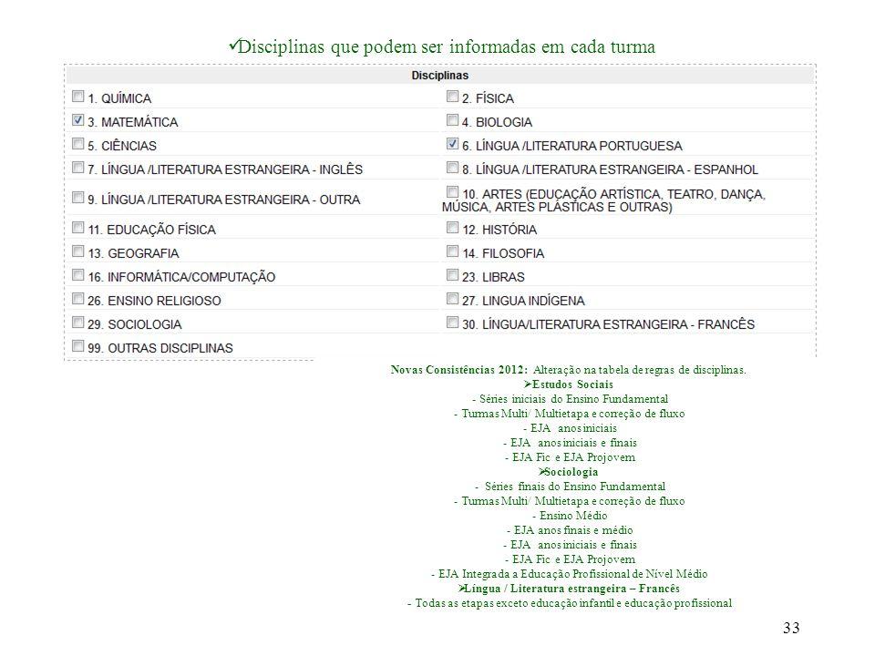 Disciplinas que podem ser informadas em cada turma Novas Consistências 2012: Alteração na tabela de regras de disciplinas.  Estudos Sociais - Séries