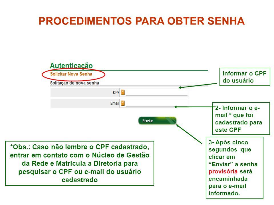 4 *Obs.: Caso não lembre o CPF cadastrado, entrar em contato com o Núcleo de Gestão da Rede e Matricula a Diretoria para pesquisar o CPF ou e-mail do