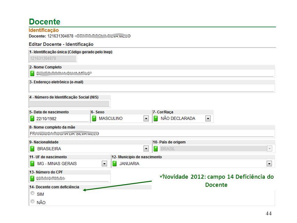 Novidade 2012: campo 14 Deficiência do Docente 44