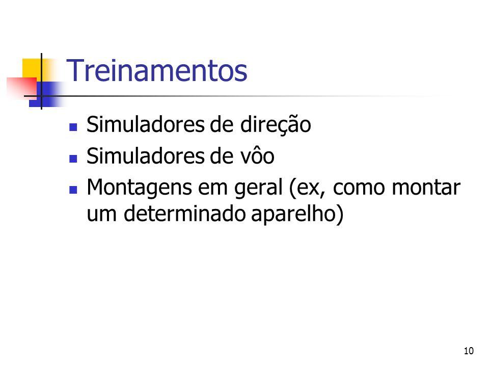 10 Treinamentos Simuladores de direção Simuladores de vôo Montagens em geral (ex, como montar um determinado aparelho)