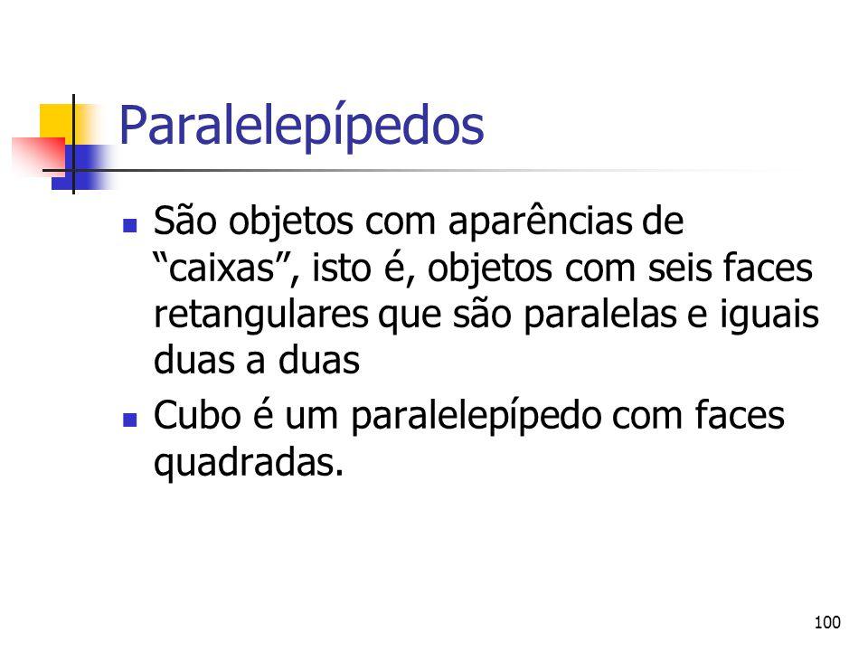 """100 Paralelepípedos São objetos com aparências de """"caixas"""", isto é, objetos com seis faces retangulares que são paralelas e iguais duas a duas Cubo é"""