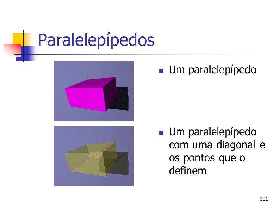 101 Paralelepípedos Um paralelepípedo Um paralelepípedo com uma diagonal e os pontos que o definem