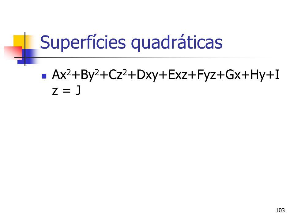 103 Superfícies quadráticas Ax 2 +By 2 +Cz 2 +Dxy+Exz+Fyz+Gx+Hy+I z = J