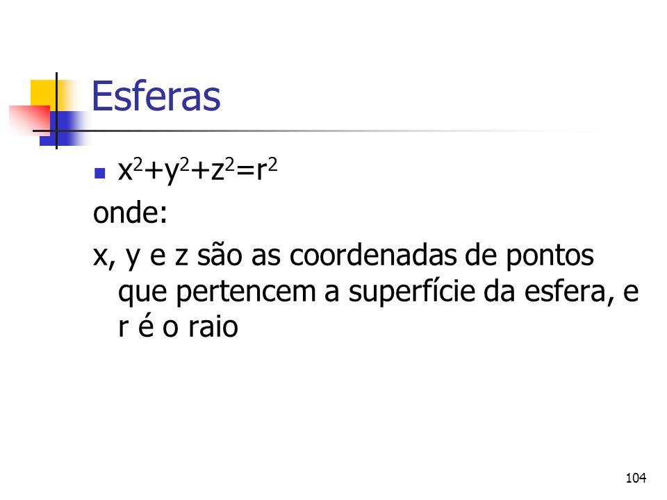 104 Esferas x 2 +y 2 +z 2 =r 2 onde: x, y e z são as coordenadas de pontos que pertencem a superfície da esfera, e r é o raio