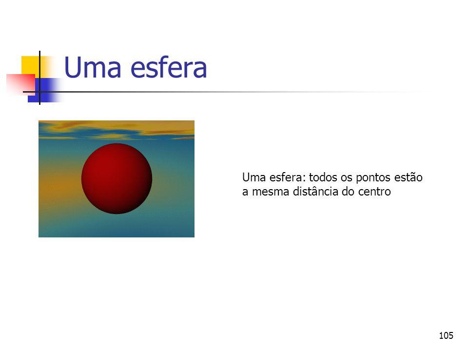 105 Uma esfera Uma esfera: todos os pontos estão a mesma distância do centro