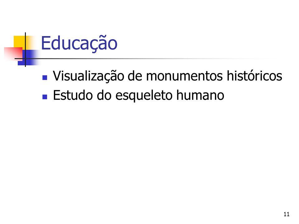 11 Educação Visualização de monumentos históricos Estudo do esqueleto humano