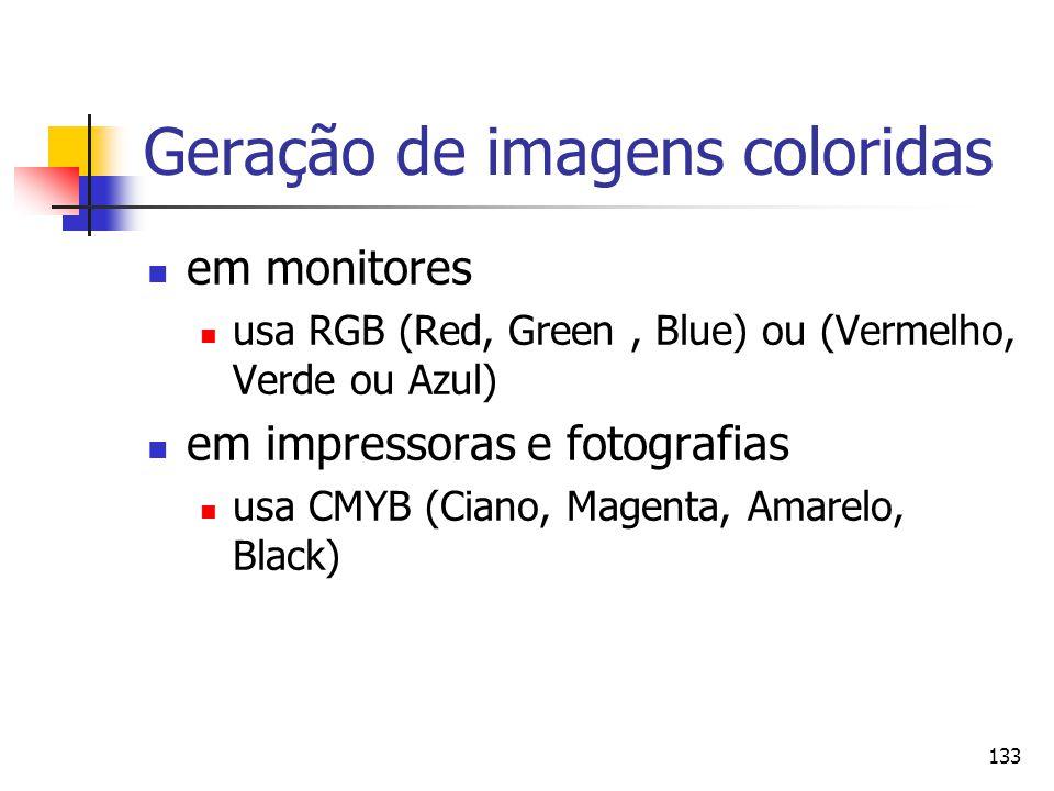 133 Geração de imagens coloridas em monitores usa RGB (Red, Green, Blue) ou (Vermelho, Verde ou Azul) em impressoras e fotografias usa CMYB (Ciano, Ma