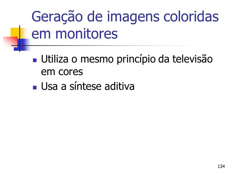 134 Geração de imagens coloridas em monitores Utiliza o mesmo princípio da televisão em cores Usa a síntese aditiva