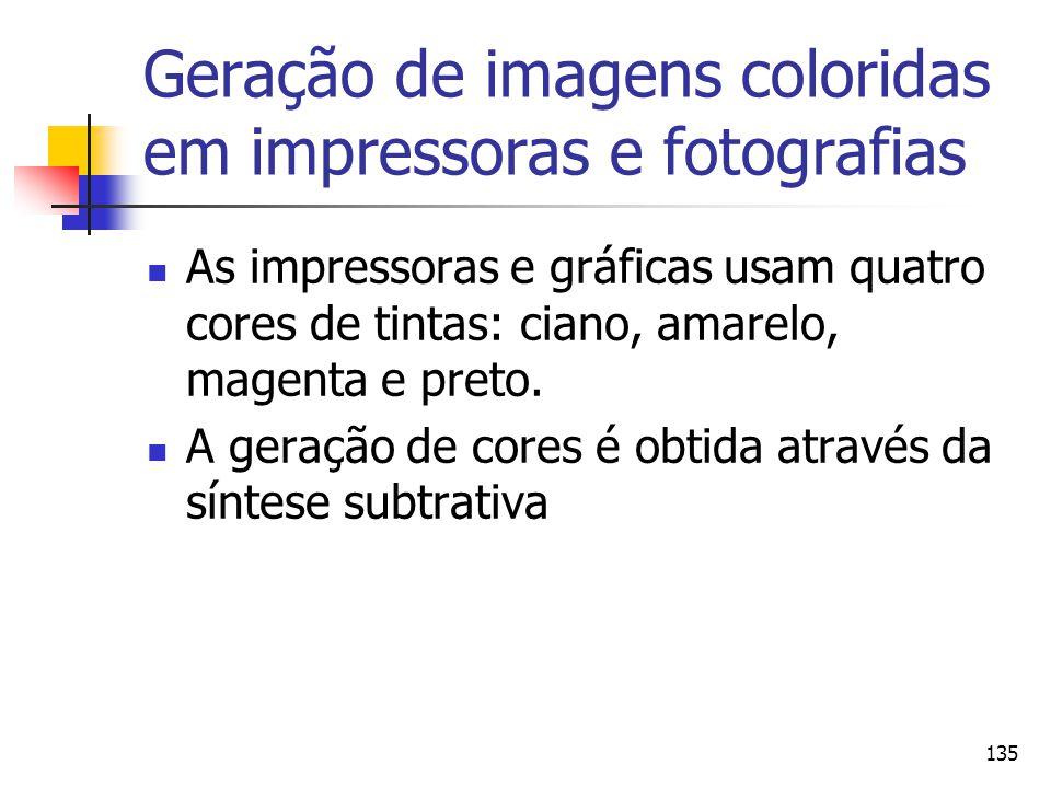 135 Geração de imagens coloridas em impressoras e fotografias As impressoras e gráficas usam quatro cores de tintas: ciano, amarelo, magenta e preto.
