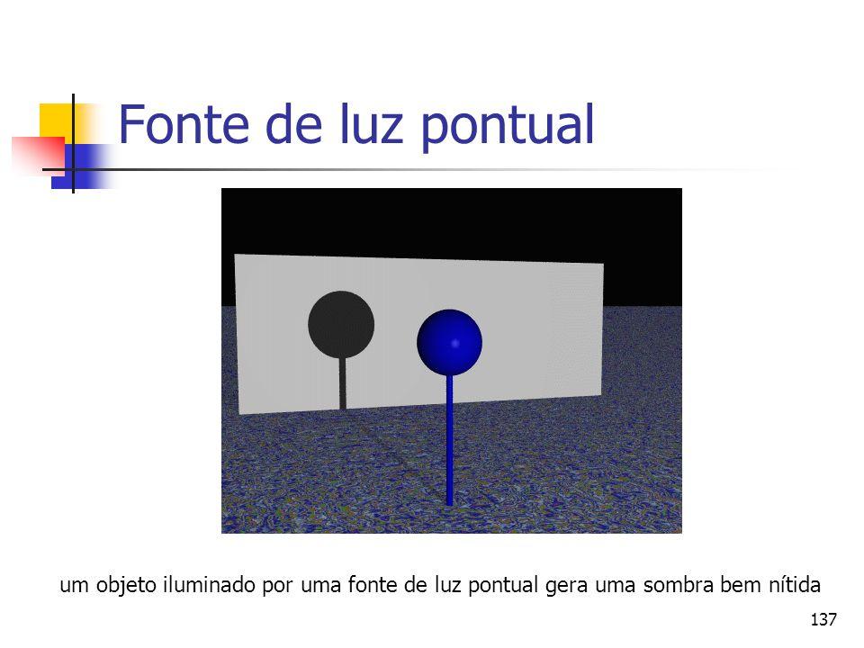 137 Fonte de luz pontual um objeto iluminado por uma fonte de luz pontual gera uma sombra bem nítida