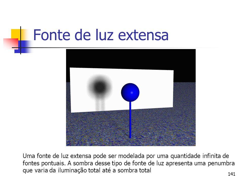 141 Fonte de luz extensa Uma fonte de luz extensa pode ser modelada por uma quantidade infinita de fontes pontuais. A sombra desse tipo de fonte de lu