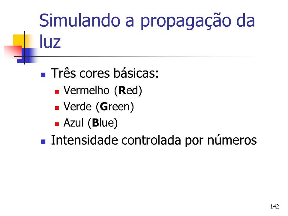 142 Simulando a propagação da luz Três cores básicas: Vermelho (Red) Verde (Green) Azul (Blue) Intensidade controlada por números
