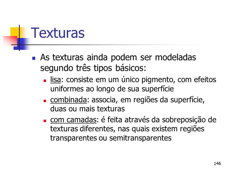 146 Texturas As texturas ainda podem ser modeladas segundo três tipos básicos: lisa: consiste em um único pigmento, com efeitos uniformes ao longo de