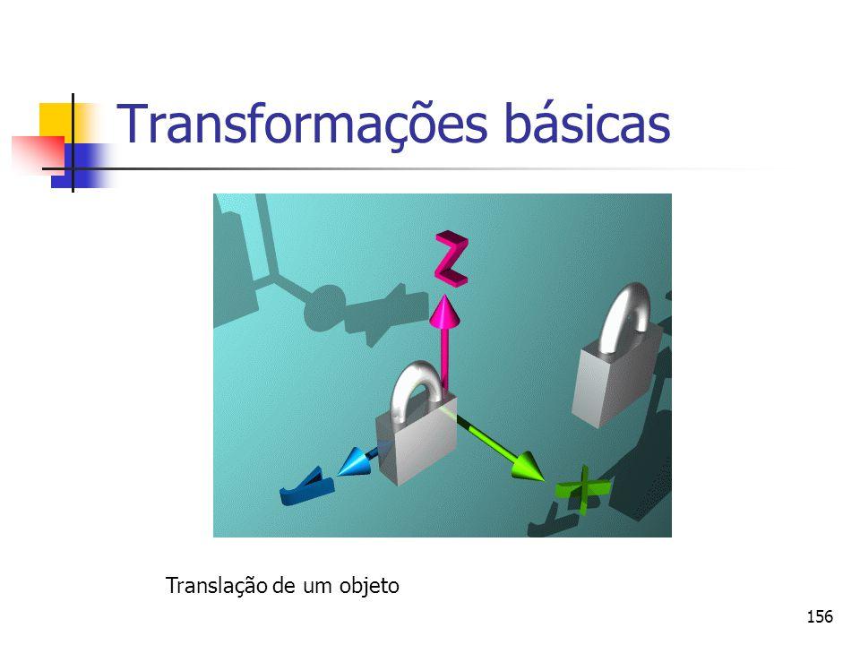 156 Transformações básicas Translação de um objeto