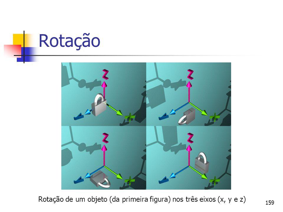 159 Rotação Rotação de um objeto (da primeira figura) nos três eixos (x, y e z)