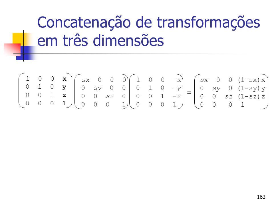 163 Concatenação de transformações em três dimensões sx 0 0 0 0 sy 0 0 0 0 sz 0 0 0 0 1 = 1 0 0 x 0 1 0 y 0 0 1 z 0 0 0 1 1 0 0 -x 0 1 0 -y 0 0 1 -z 0