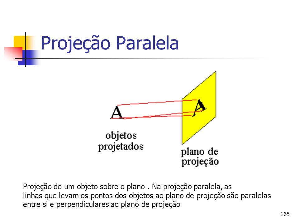 165 Projeção Paralela Projeção de um objeto sobre o plano. Na projeção paralela, as linhas que levam os pontos dos objetos ao plano de projeção são pa