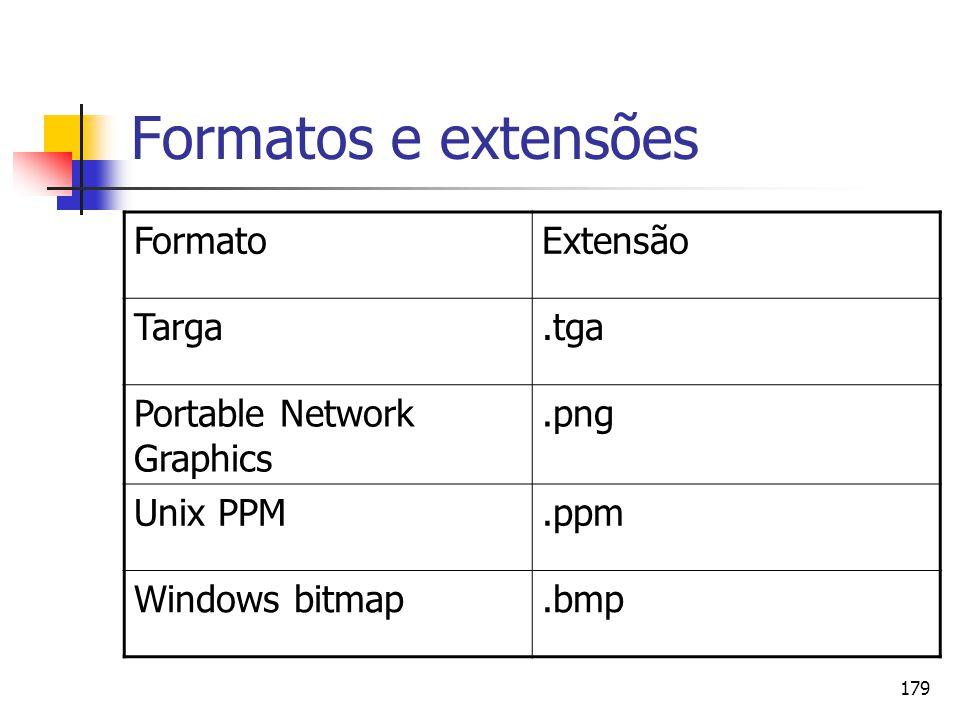 179 Formatos e extensões FormatoExtensão Targa.tga Portable Network Graphics.png Unix PPM.ppm Windows bitmap.bmp