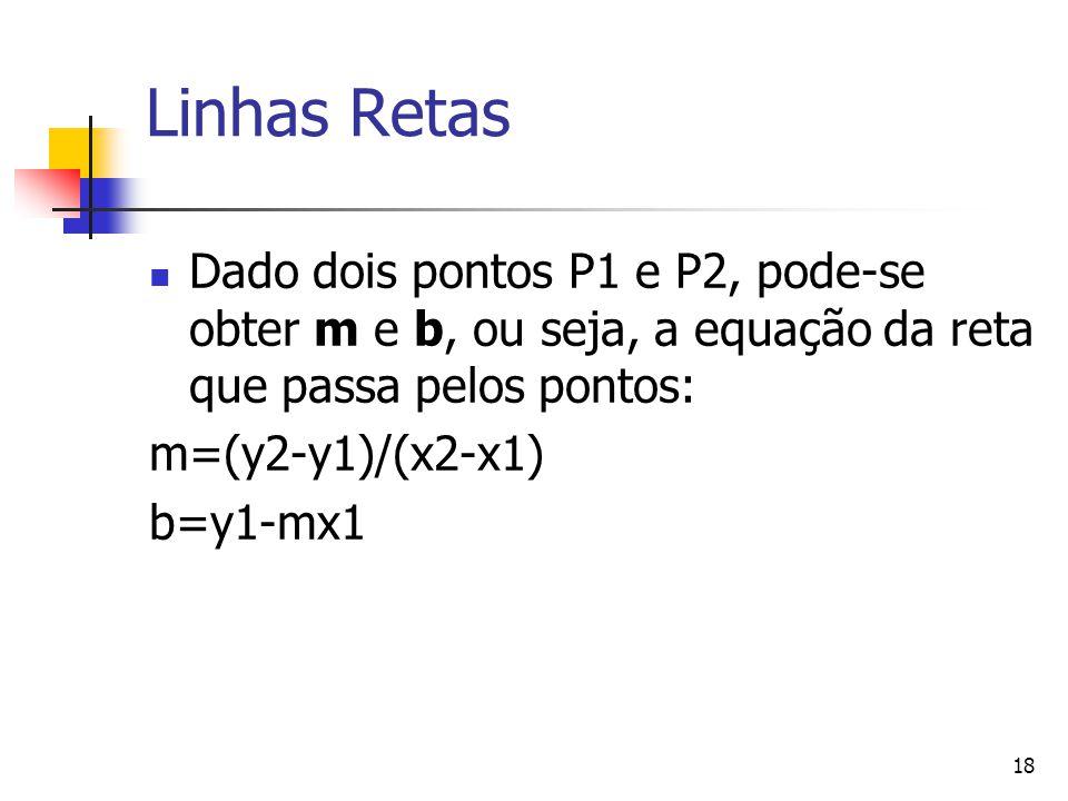 18 Linhas Retas Dado dois pontos P1 e P2, pode-se obter m e b, ou seja, a equação da reta que passa pelos pontos: m=(y2-y1)/(x2-x1) b=y1-mx1