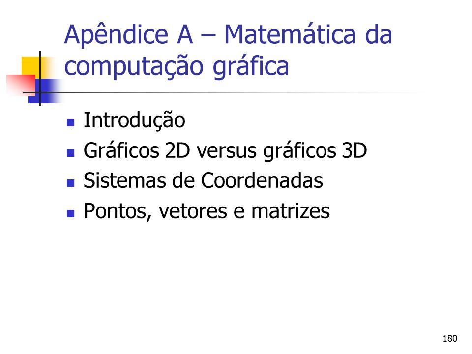 180 Apêndice A – Matemática da computação gráfica Introdução Gráficos 2D versus gráficos 3D Sistemas de Coordenadas Pontos, vetores e matrizes