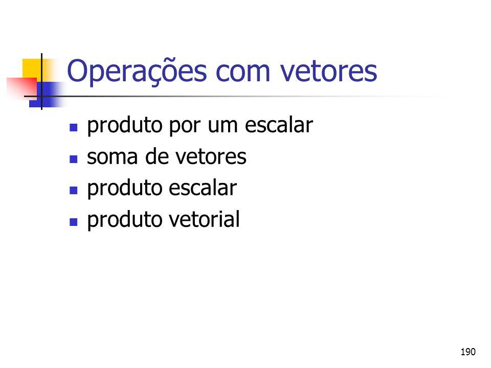 190 Operações com vetores produto por um escalar soma de vetores produto escalar produto vetorial