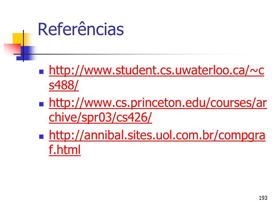 193 Referências http://www.student.cs.uwaterloo.ca/~c s488/ http://www.student.cs.uwaterloo.ca/~c s488/ http://www.cs.princeton.edu/courses/ar chive/s