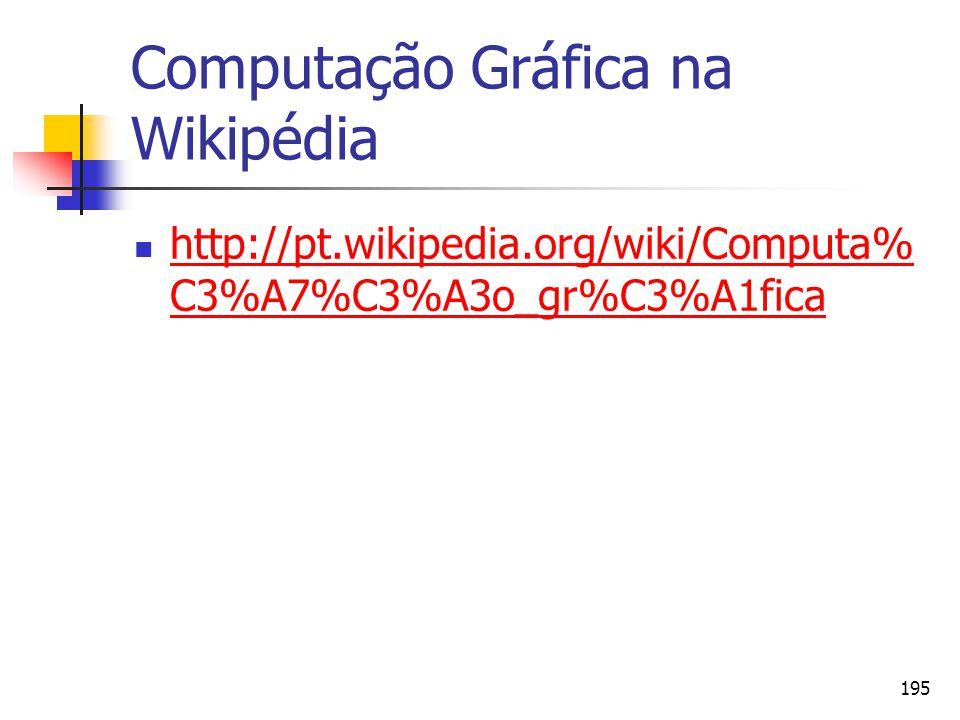 195 Computação Gráfica na Wikipédia http://pt.wikipedia.org/wiki/Computa% C3%A7%C3%A3o_gr%C3%A1fica http://pt.wikipedia.org/wiki/Computa% C3%A7%C3%A3o