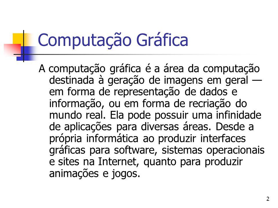 2 A computação gráfica é a área da computação destinada à geração de imagens em geral — em forma de representação de dados e informação, ou em forma d