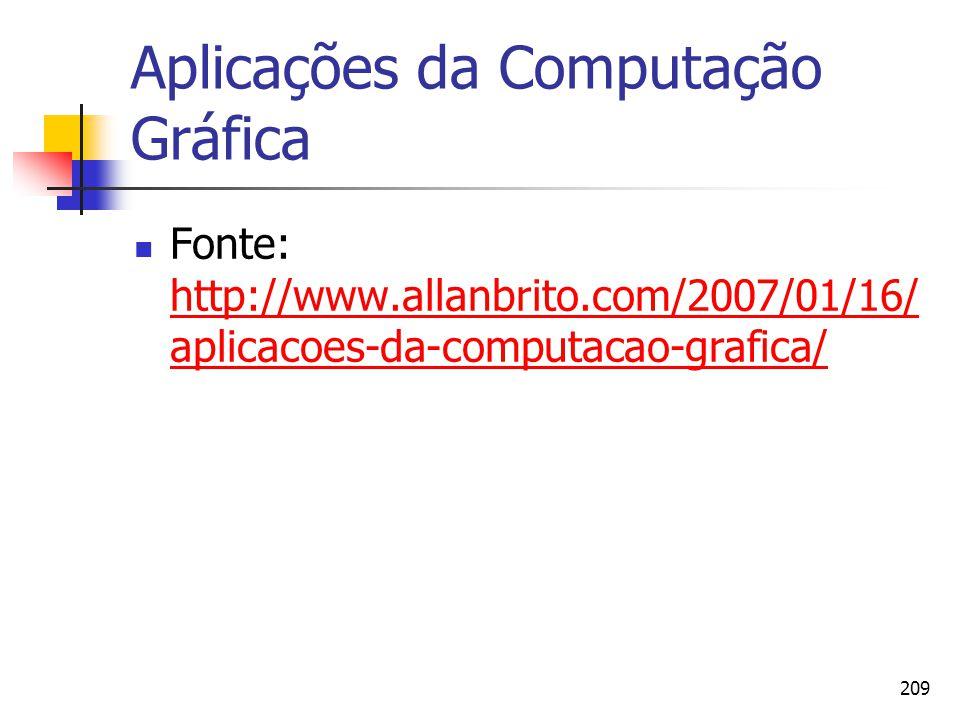 209 Aplicações da Computação Gráfica Fonte: http://www.allanbrito.com/2007/01/16/ aplicacoes-da-computacao-grafica/ http://www.allanbrito.com/2007/01/