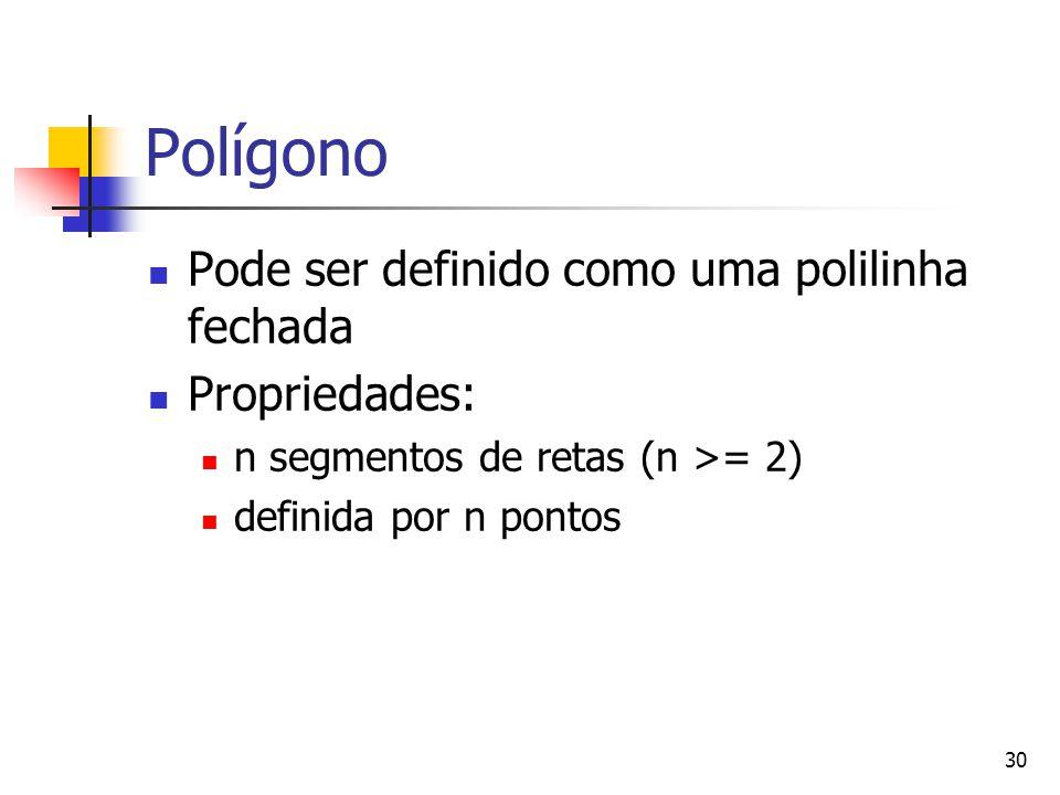 30 Polígono Pode ser definido como uma polilinha fechada Propriedades: n segmentos de retas (n >= 2) definida por n pontos