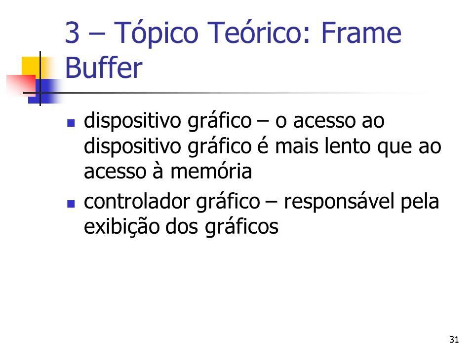 31 3 – Tópico Teórico: Frame Buffer dispositivo gráfico – o acesso ao dispositivo gráfico é mais lento que ao acesso à memória controlador gráfico – r