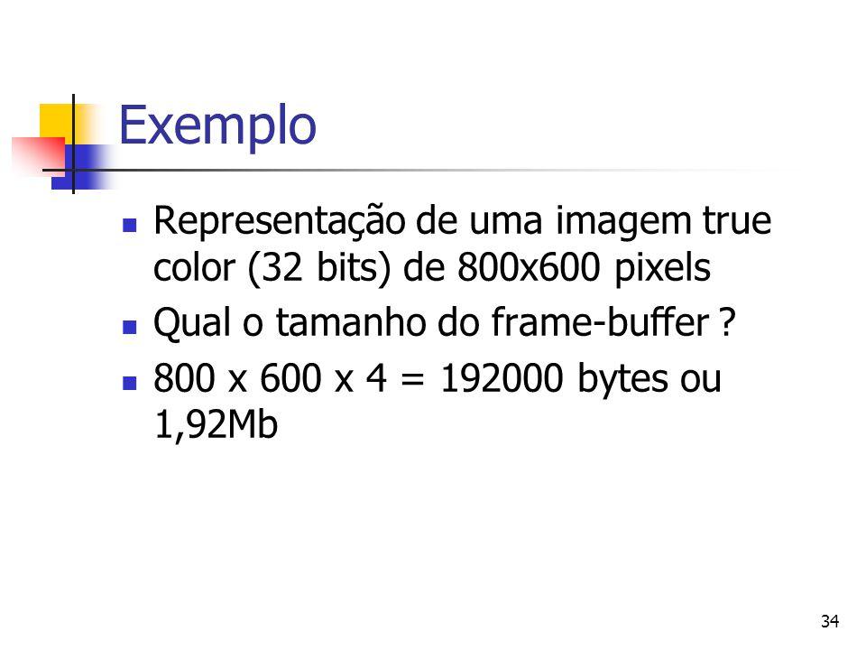 34 Exemplo Representação de uma imagem true color (32 bits) de 800x600 pixels Qual o tamanho do frame-buffer ? 800 x 600 x 4 = 192000 bytes ou 1,92Mb