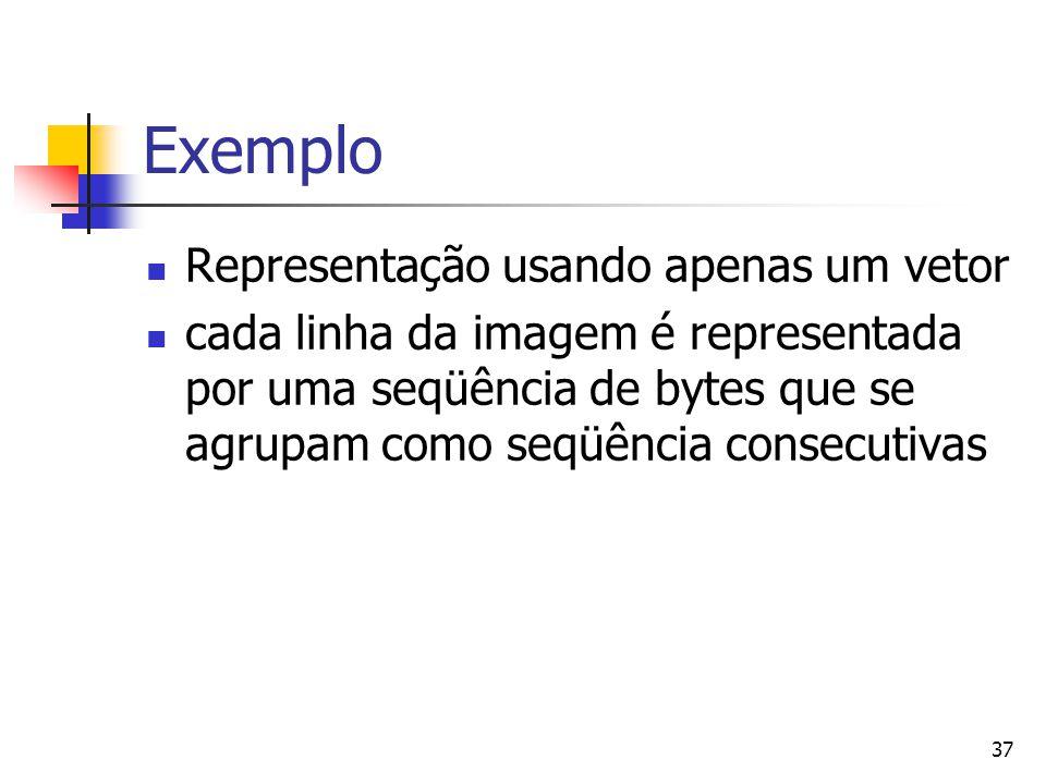 37 Exemplo Representação usando apenas um vetor cada linha da imagem é representada por uma seqüência de bytes que se agrupam como seqüência consecuti
