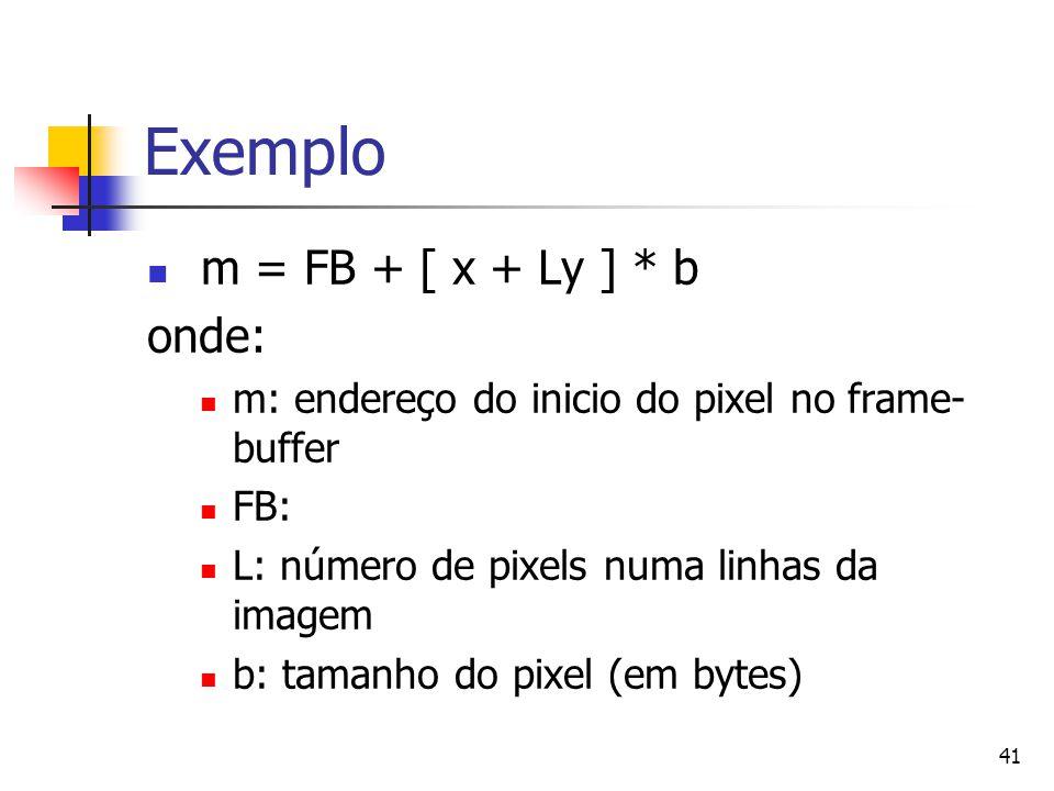 41 Exemplo m = FB + [ x + Ly ] * b onde: m: endereço do inicio do pixel no frame- buffer FB: L: número de pixels numa linhas da imagem b: tamanho do p