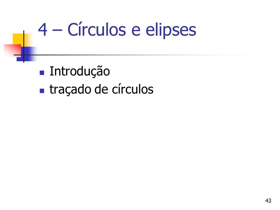 43 4 – Círculos e elipses Introdução traçado de círculos