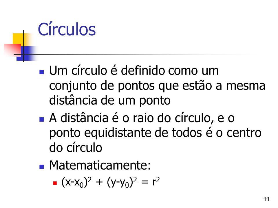 44 Círculos Um círculo é definido como um conjunto de pontos que estão a mesma distância de um ponto A distância é o raio do círculo, e o ponto equidi