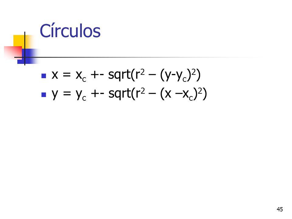45 Círculos x = x c +- sqrt(r 2 – (y-y c ) 2 ) y = y c +- sqrt(r 2 – (x –x c ) 2 )