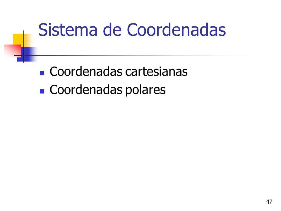 47 Sistema de Coordenadas Coordenadas cartesianas Coordenadas polares