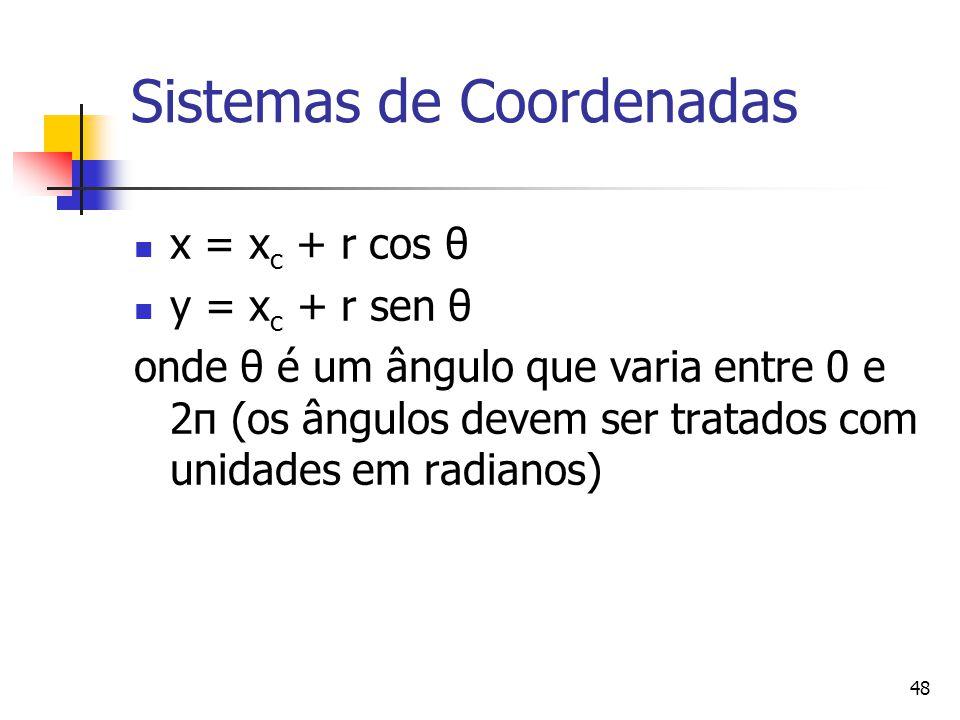 48 Sistemas de Coordenadas x = x c + r cos θ y = x c + r sen θ onde θ é um ângulo que varia entre 0 e 2π (os ângulos devem ser tratados com unidades e