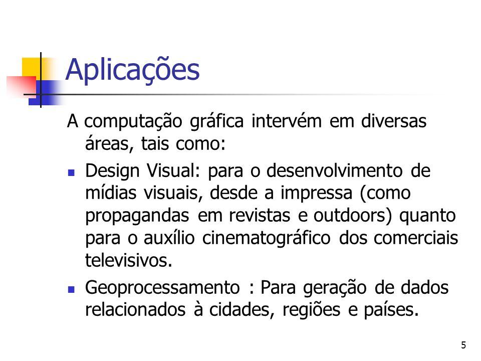 5 A computação gráfica intervém em diversas áreas, tais como: Design Visual: para o desenvolvimento de mídias visuais, desde a impressa (como propagan