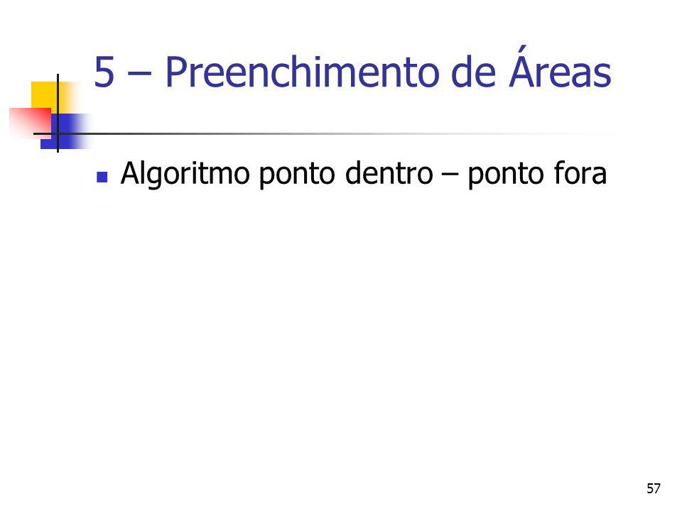 57 5 – Preenchimento de Áreas Algoritmo ponto dentro – ponto fora