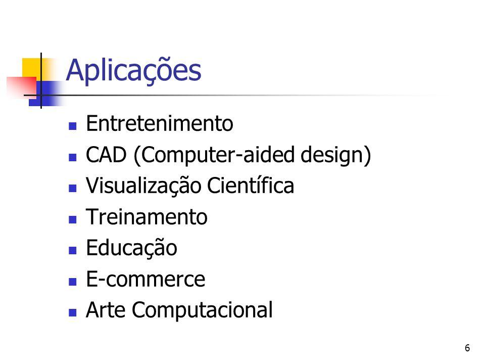 6 Aplicações Entretenimento CAD (Computer-aided design) Visualização Científica Treinamento Educação E-commerce Arte Computacional
