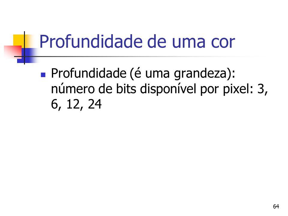 64 Profundidade de uma cor Profundidade (é uma grandeza): número de bits disponível por pixel: 3, 6, 12, 24
