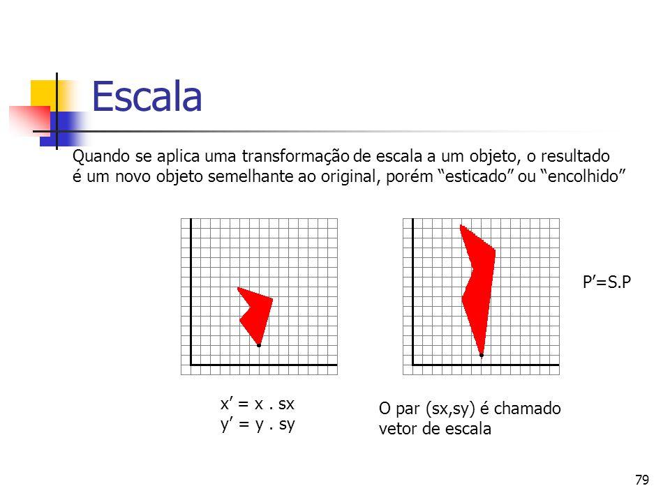 """79 Escala x' = x. sx y' = y. sy Quando se aplica uma transformação de escala a um objeto, o resultado é um novo objeto semelhante ao original, porém """""""